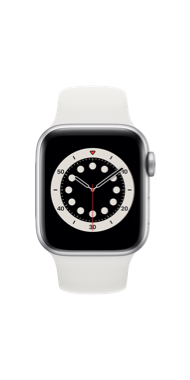 Apple Watch Series 6 40mm silver white sport front