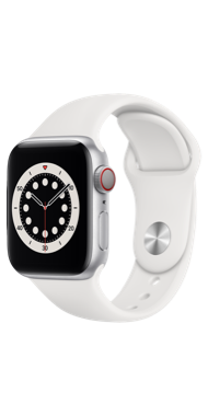 Apple Watch Series 6 40mm silver white sport side