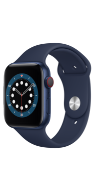 Apple Watch Series 6 44 mm blue deep navy sport side