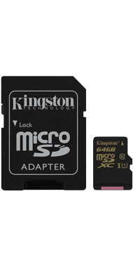 Kingston Hukommelseskort + Adapter, 64 GB
